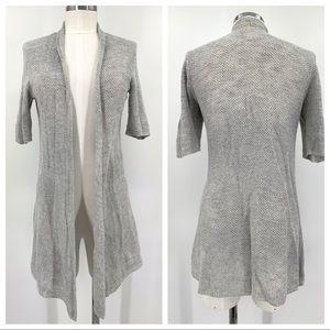 Eileen Fisher Gray Open Knit Linen Duster Cardigan